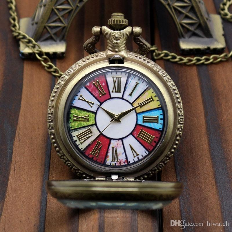 New Clear Glass Cover Colorful Dial Rome Number Quartz Pocket Watch Necklace Bronze Pendant