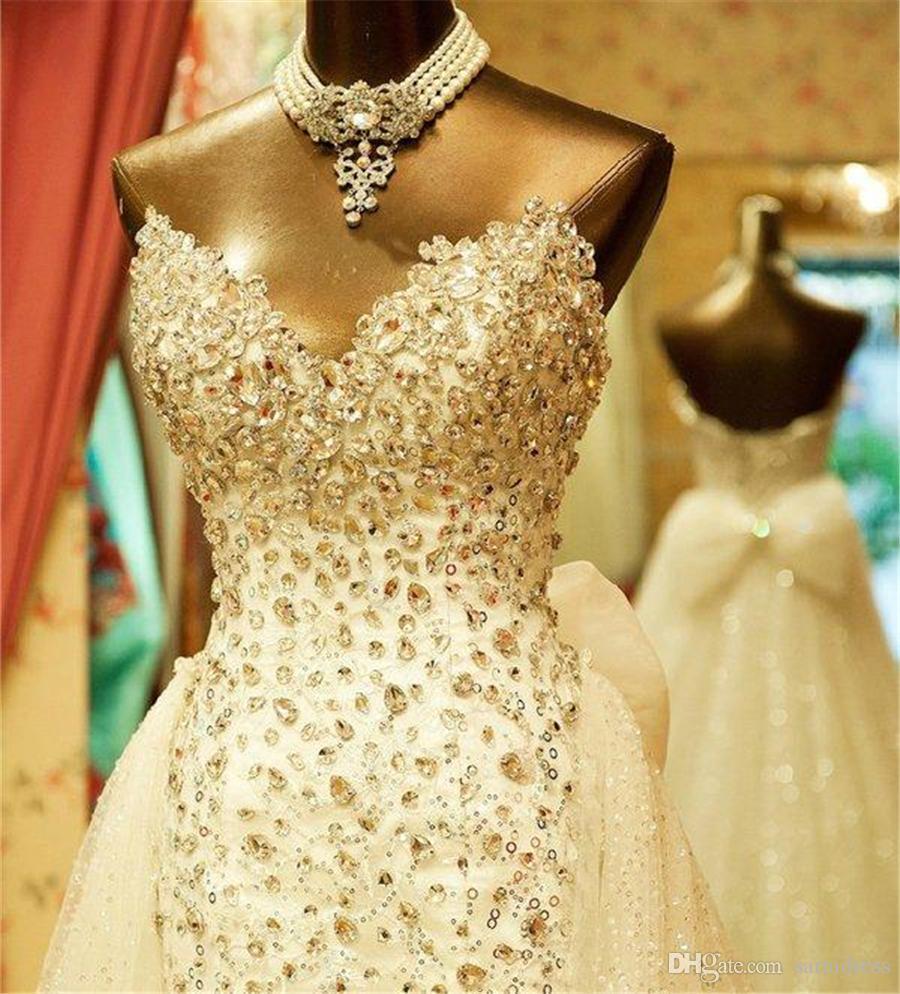 Sweetheart Strapless Wedding Dresses Court Train Vintage Carolina Plus Size Brides Custom made Hi-Low Beaded Crystal Bridal Dress