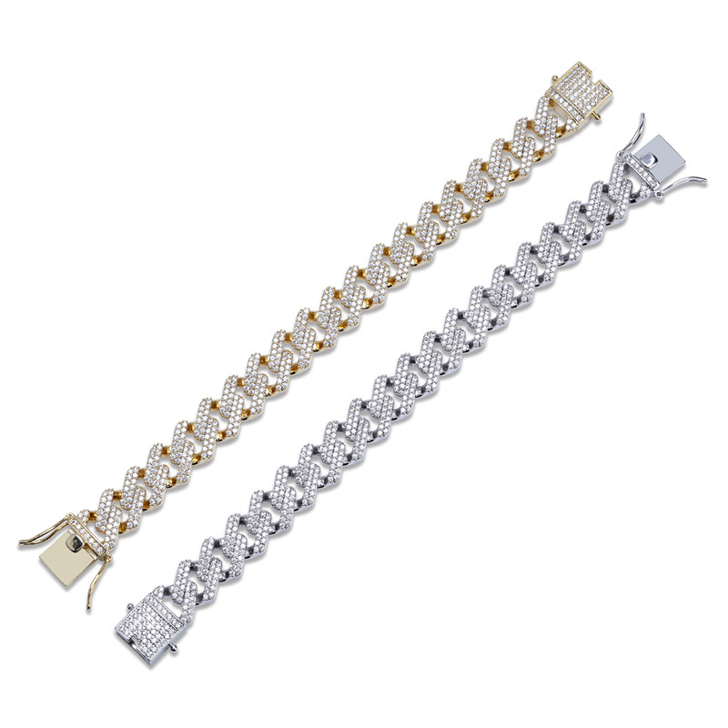 14mm 7/8nch Straight Edge Diamonds Cuban Link Chain Bracelet Gold Silver Iced Out Cubic Zirconia Hiphop Men Jewelry