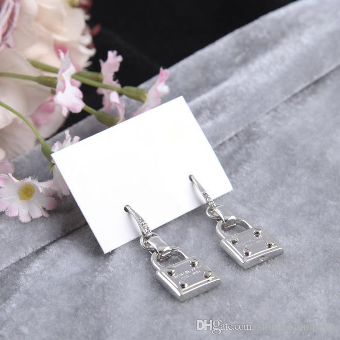 New York Earrings Fashion Padlock Drop Earrings with Cute Lock Alloy Earrings Cheap Famous Fashion Jewelry