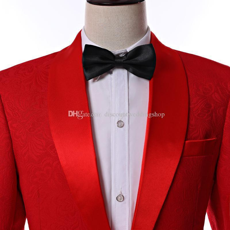 Latest Design Side Vent One Button Red Paisley Shawl Lapel Wedding Groom Tuxedos Men Party Groomsmen Suits Jacket+Pants+Tie K19