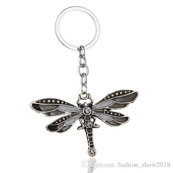 Crystal Butterfly Keychain Bohemia Dragonfly Pendants Keyring Women Ladies Jewelry Gifts Animal Charms Key Chain Car Bags Keyfob