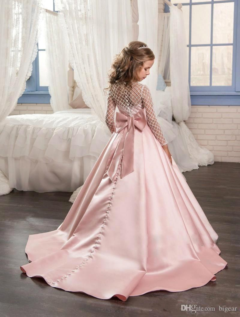 Long Sleeves Satin Flower Girl Dress with Grid Top Girl Pageant Dress