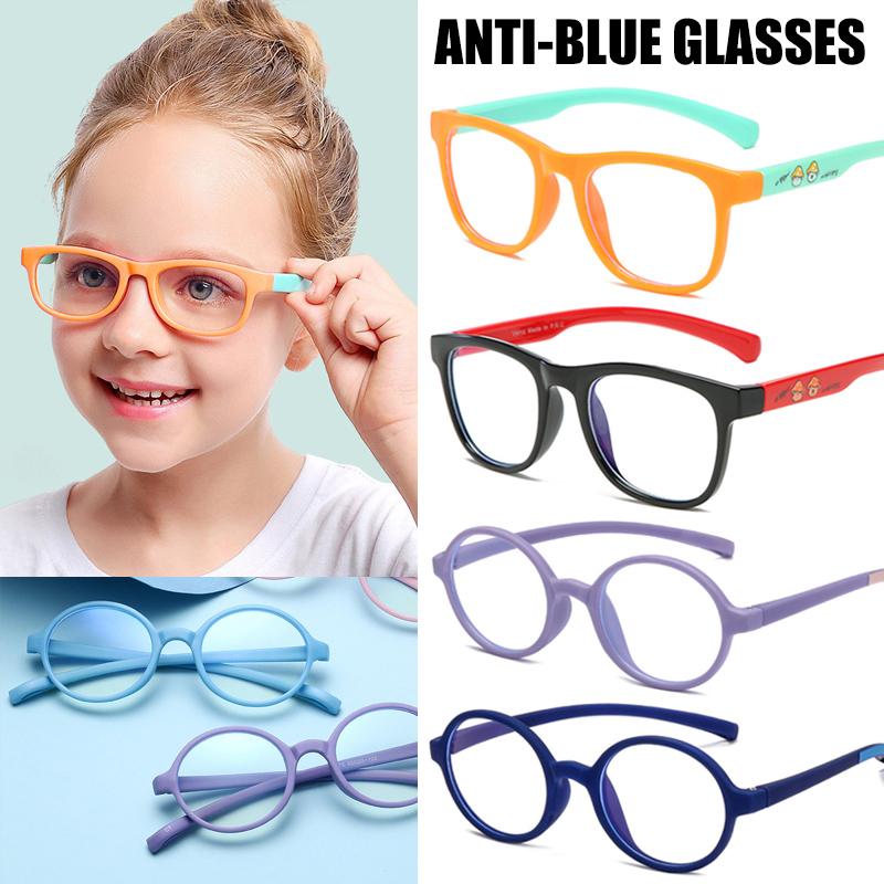 Childrens Anti-Blu-ray Glasses Boys and Girls Baby Computer Goggles Anti-UV Fashion Flat Mirror,Black