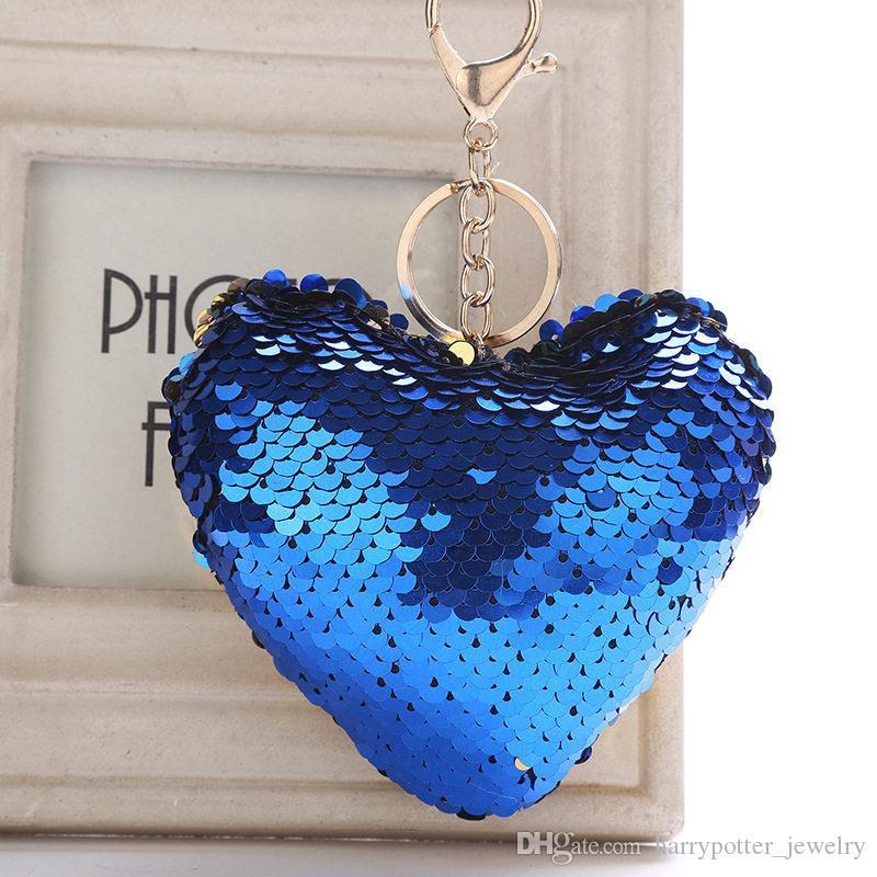 Mermaid Sequin Heart keychain Key rings Bag Hangs Fashion hip hop Jewelry for Women will and sandy Drop Ship