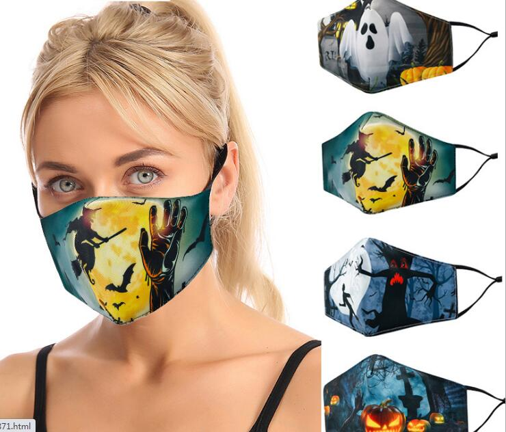 Halloween face masks 3D print adjustable cotton fashion cute breathable washable reusable face mask by dhl