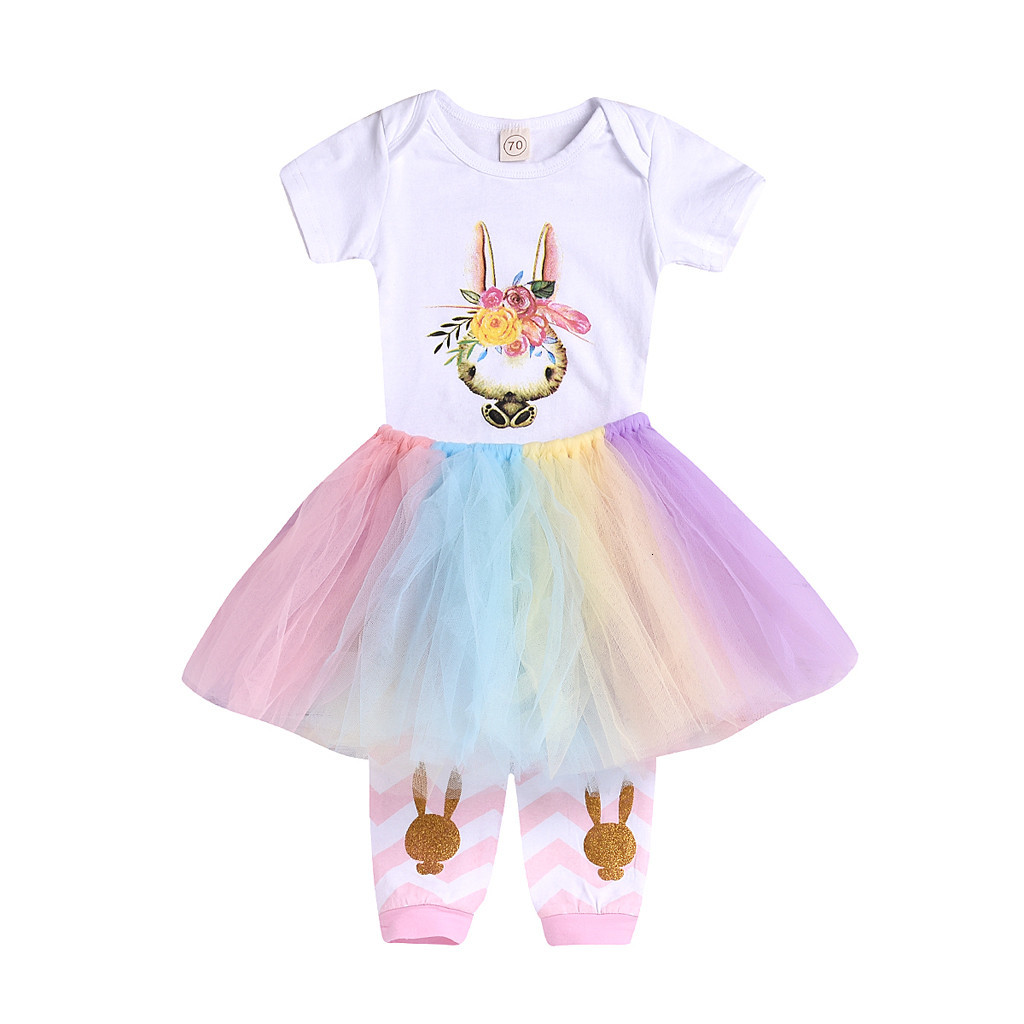UK Newborn Baby Girls Easter Clothes Rabbit Romper Tutu Lace Skirt Socks Outfit