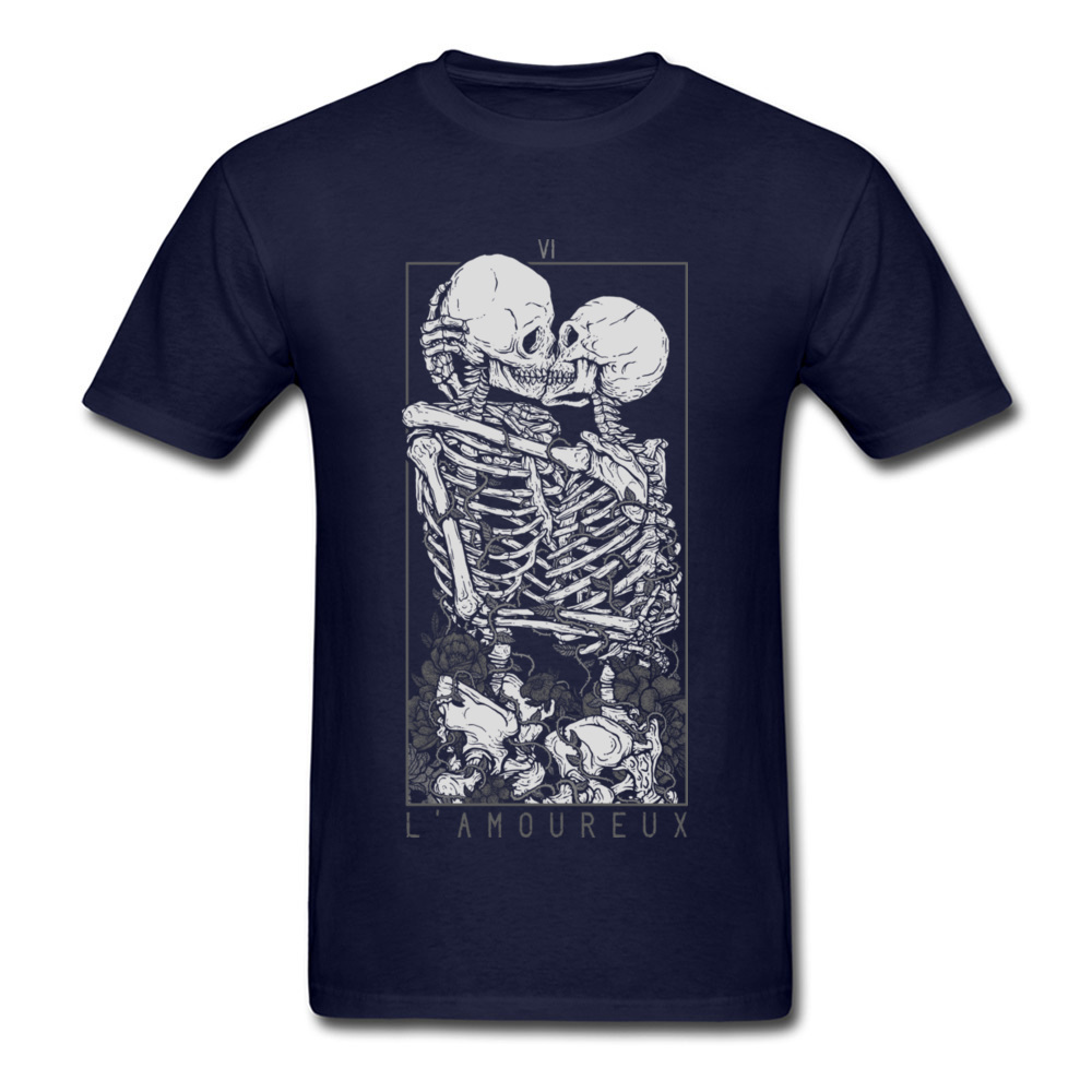 The Lovers Summer Autumn Pure Cotton Crew Neck Tees Short Sleeve Summer Clothing Shirt New Design Design T Shirt The Lovers navy
