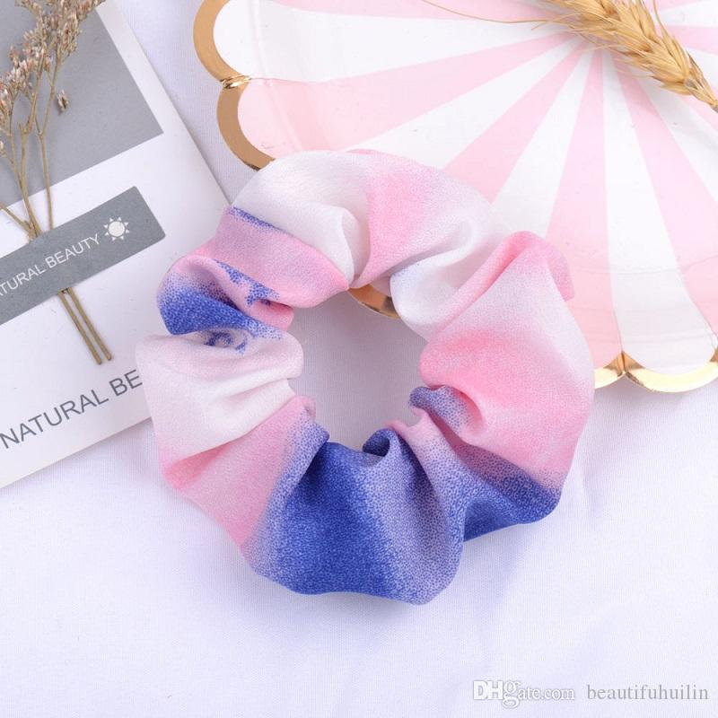 Girls Women Gradient Color Scrunchie Elastic Hair Rubber Band Hair Rope Ponytail Holder Headdress Beautiful HuiLin C333
