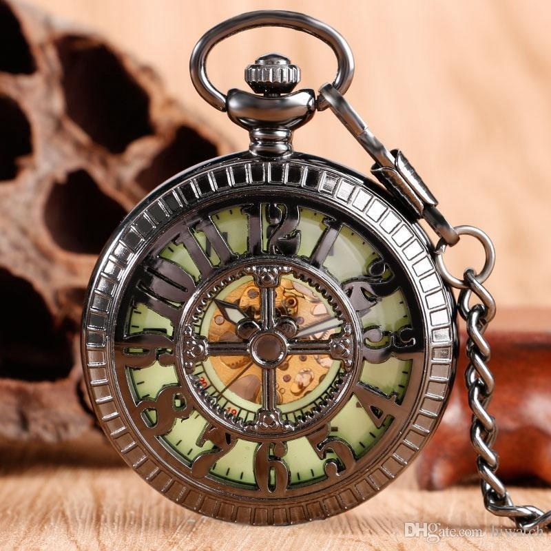 Fashion Noctilucent Display Black Mechanical Pocket Watch Man And Women Classic Hand Winding Exquisite Cartoon Mouse Present