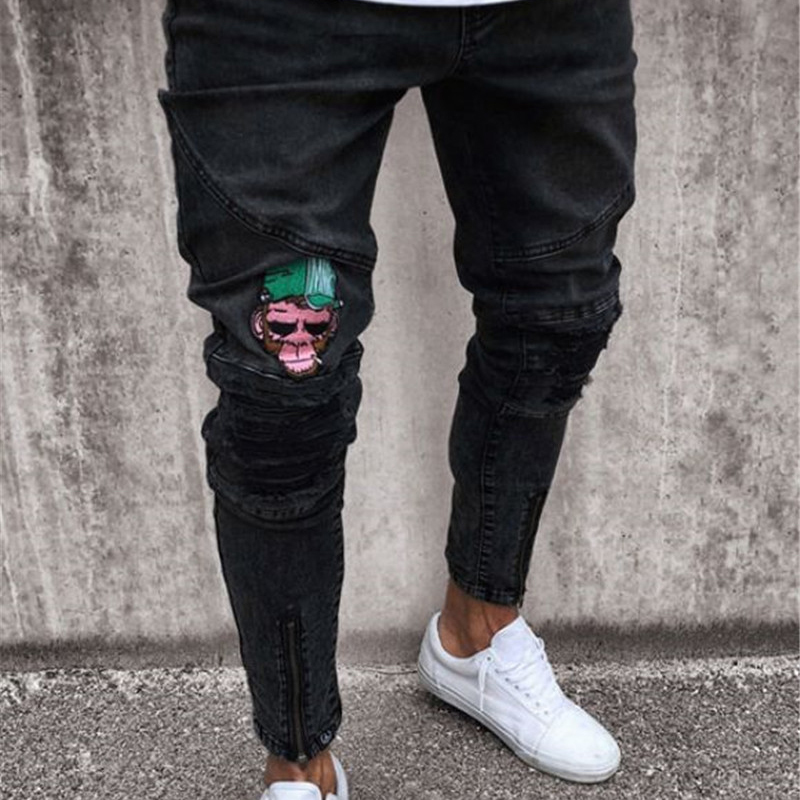 2020 Men brand embroidery jeans Fashion Men Casual Slim fit Straight High Stretch Feet skinny jeans men