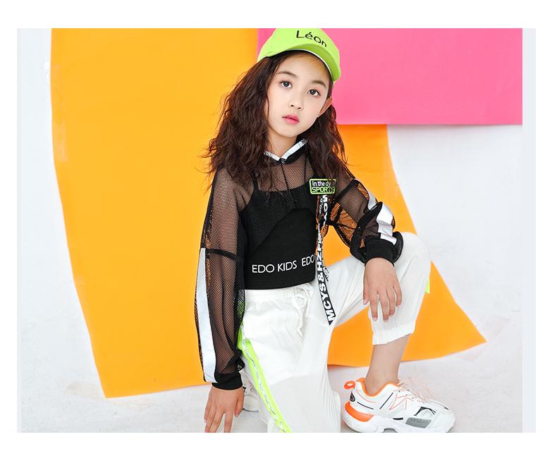 Toddler Girls Oversize Full Sleeve Hoodies Hip Hop Ballroom Jazz Dance Costumes Kids Boy Skirttrousers Clothing Set Team Wear (11)