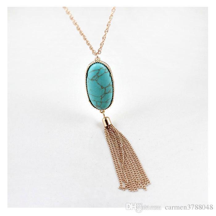 Natural Stone Druzy Pendant Necklaces Long Tassel Statement Necklace
