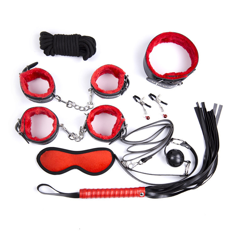 10 in 1 bondage gear set bdsm adult sex toys torture fetish mouth gag handcuffs spanking whips mask ball gag nipple clamps GN333208049