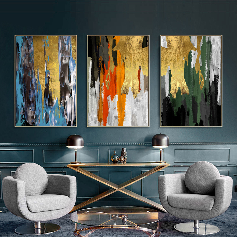2020 Abstract Bright Colour Blocks Canvas Art Gold Foil Modern Painting Posters Prints Living Room Aisle Entrance Artistic Wall Decor From Goodcomfortable 3 41 Dhgate Com