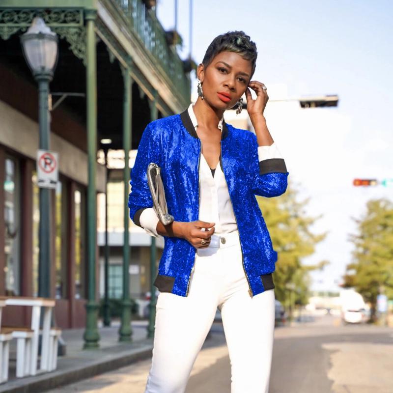 Women/'s Fashion Sequin Bomber Jacket Coat Clothes Outwear ZipUp Windbreaker D6Q1