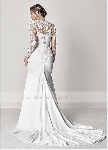 Modest-V-Neck-Lace-Wedding-Dresses-Long-Sleeve-Illusion-Appliques-Mermaid-Plus-Size-Bridal-Gowns-2019 (4)