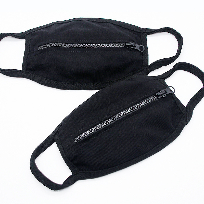 Zipper Design Face Mask Black Women Man Cycling Protective Mouth Cover Fashion Masks Cotton Breathable Sport Mask