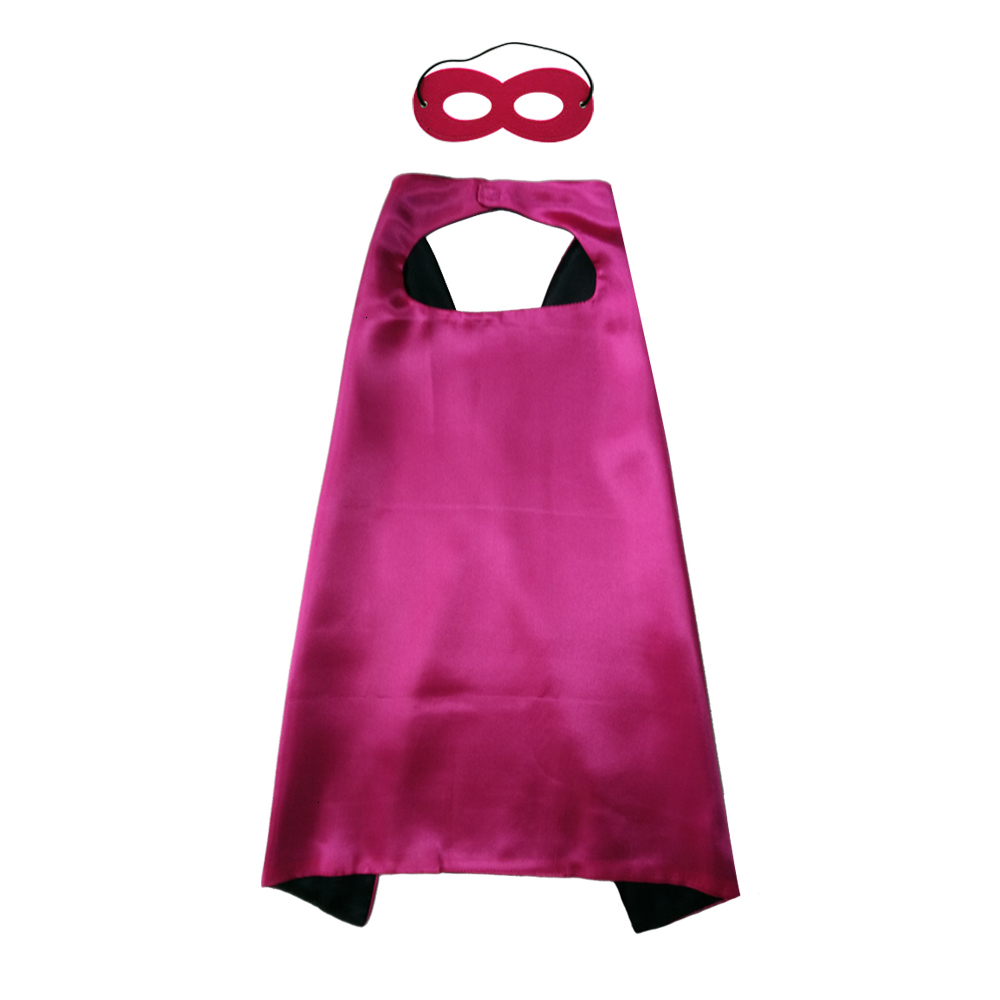 Hot Selling 70*70cm Satin Kids Capes Dual sides Plain Color Kids Cosplay Capes and felt masks Superhero custome capes with mask set