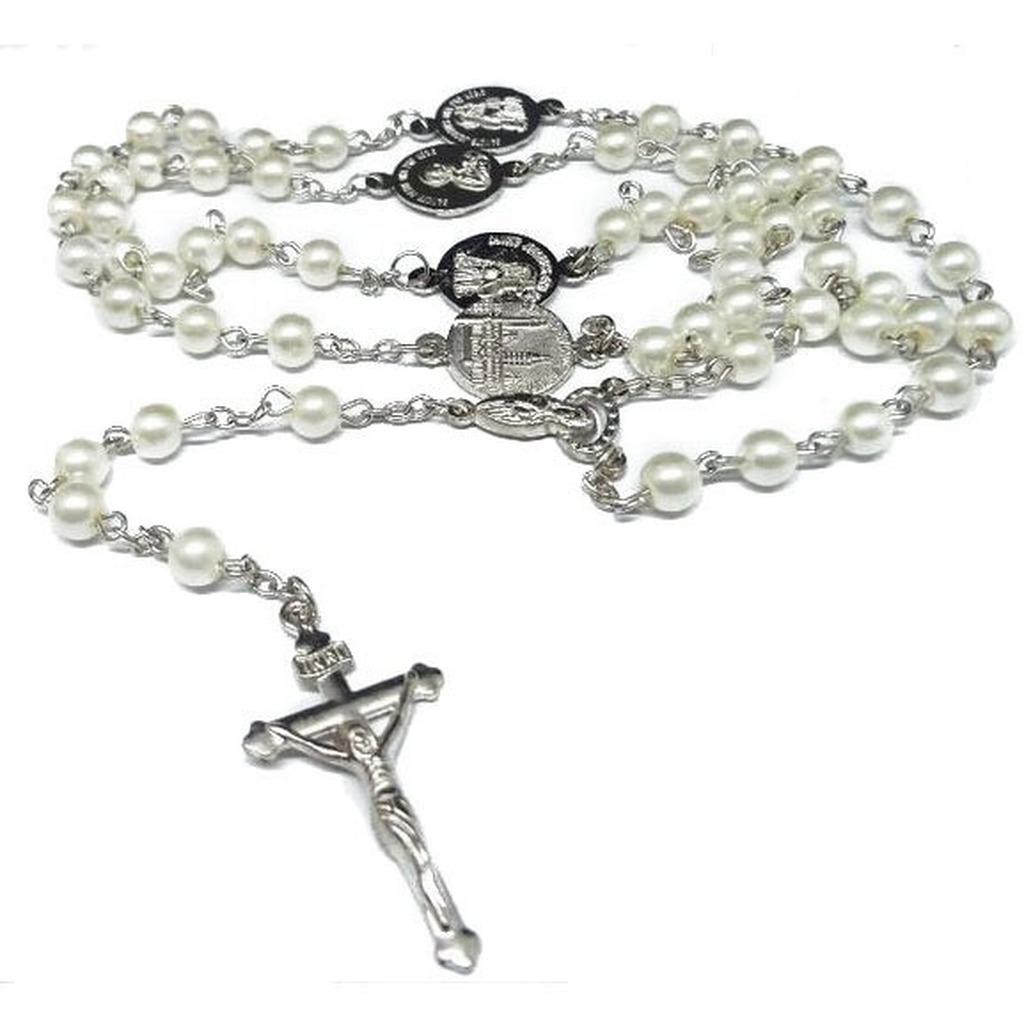 Collier Rosaire Rose Blanc Perle Perles Rosaire Catholique Croix J/ésus Religieuse Collier
