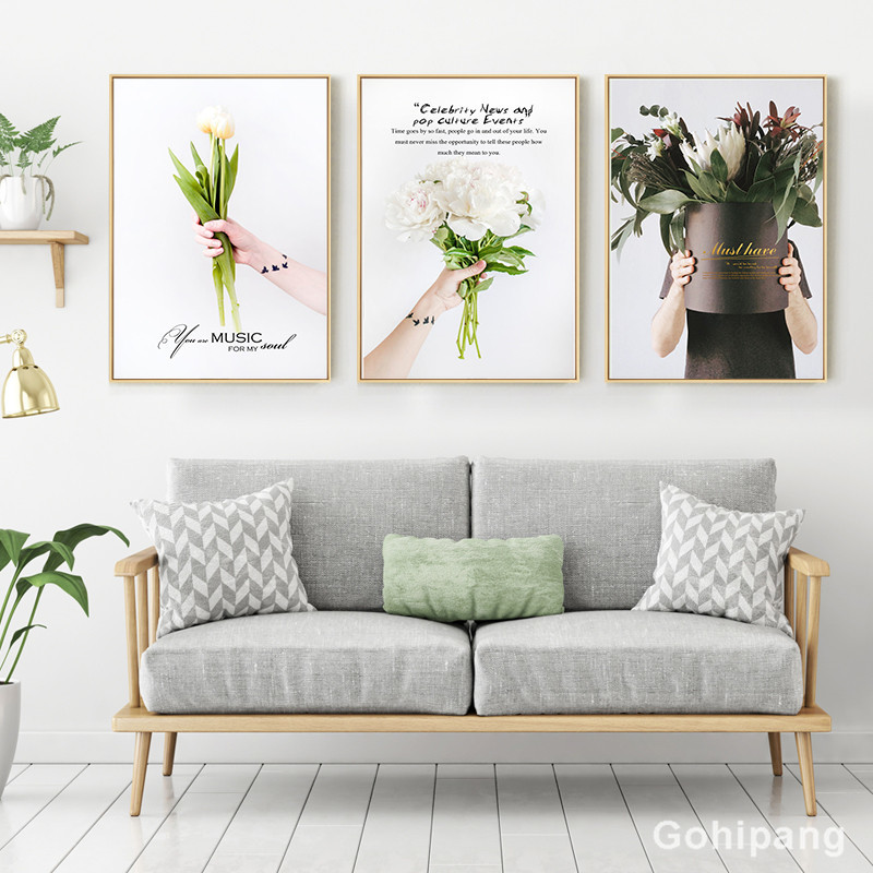 Nordic Flower Canvas Painting Home Decor Poster Well-known saying Bouquet Picture Art Print Living Room Decor Poster painting