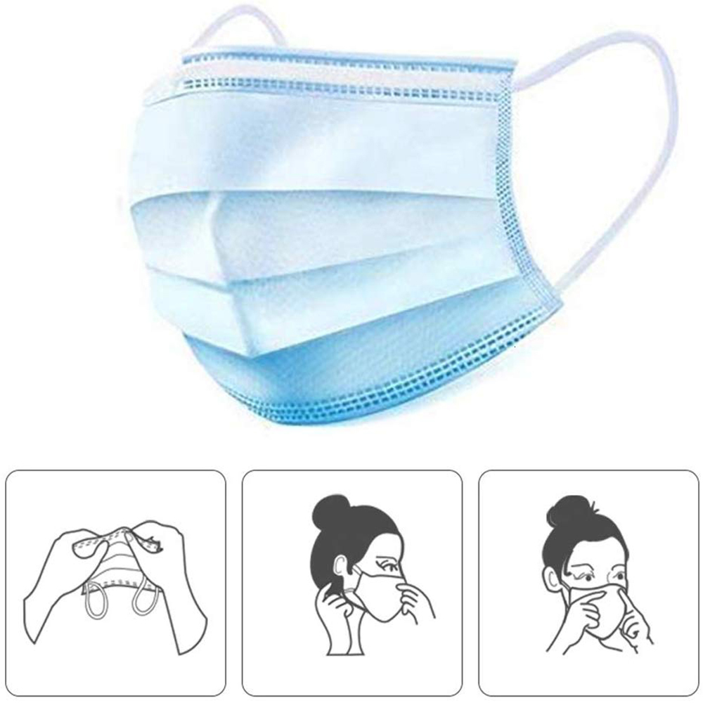 Fast Shipping Disposable Mask 3-Layer Face Masks Breathable Earloop Mouth Face Mask Comfortable Protective Mask