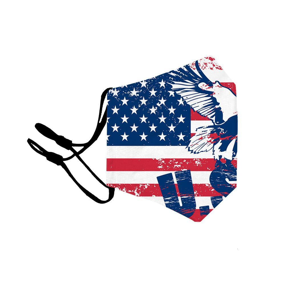 Cotton Face Mask 3D Printing Mouth Mask Resuable American Flag Designer Mask For Adult And Kids Children With PM2.5 Fliter SHeet WX20-4
