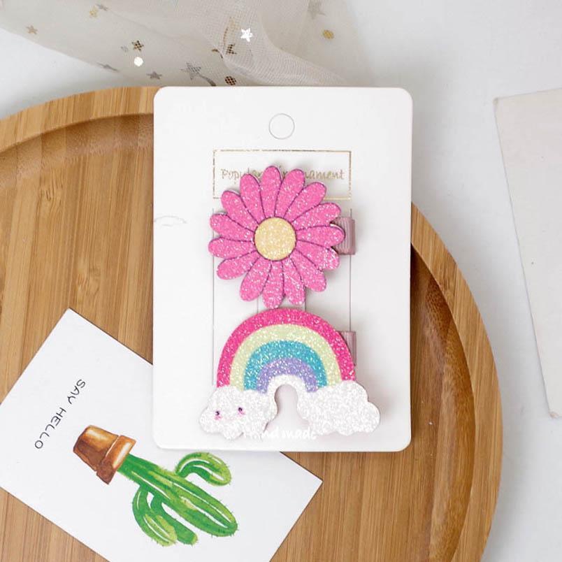 Ins Unicorn glisten girls hair clips rainbow baby BB clips Flower designer hair clips designer hair accessories B1412