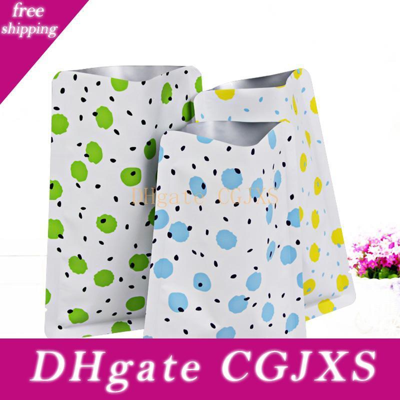 Flat Matte Yellow Patterned Design Open-Top Heat-Sealable Packaging Pouches