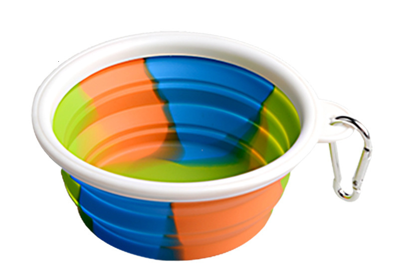 Camouflage Pet Bowl Silicone Collapsible Folding Puppy Bowl With Carabiner Portable Pet Dog Bowl For Outdoor Travel Food Water Feeding
