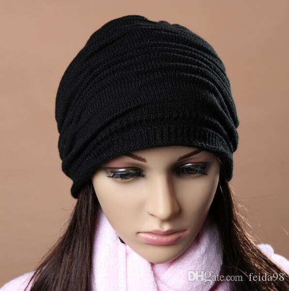 Fashion Beanie Skull Caps Mens Womens Spring Fall Winter Wool Knitted Ruffle Layers Plain Hats Caps G582