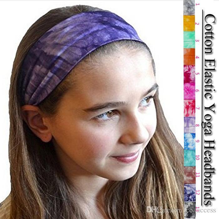 2018 Tie Dye Headbands Cotton Stretch Headbands Elastic Yoga Hairband for Teens Girls Women Adults, Assorted Colors