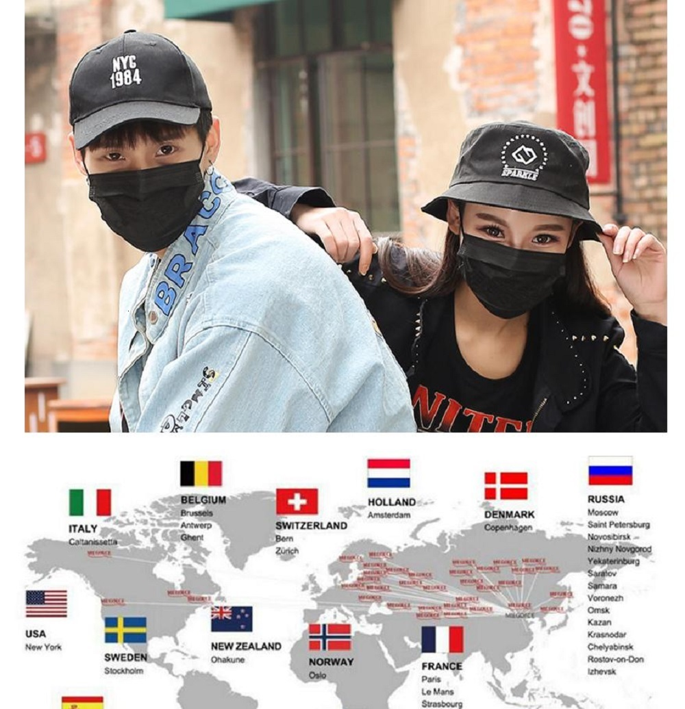 Face mask 3 Layers black face masks Non Woven Anti Dust Disposable face mask Facial Protective Cover Dust Mouth PM2.5 Safety Masks