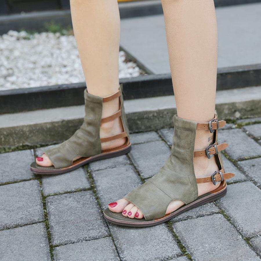 Moda de Mujer 2019 Hebilla Roma Botas al Tobillo Zapatos Taco Bajo Vaquero Vintage