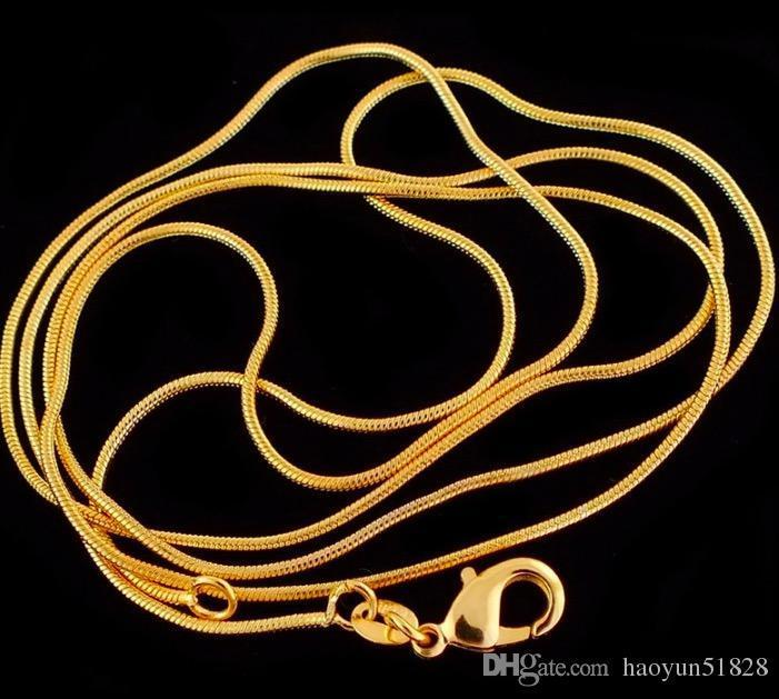 Wholesale Fashion Gold Color Necklace Chains,1mm Snake Chain Necklace 16