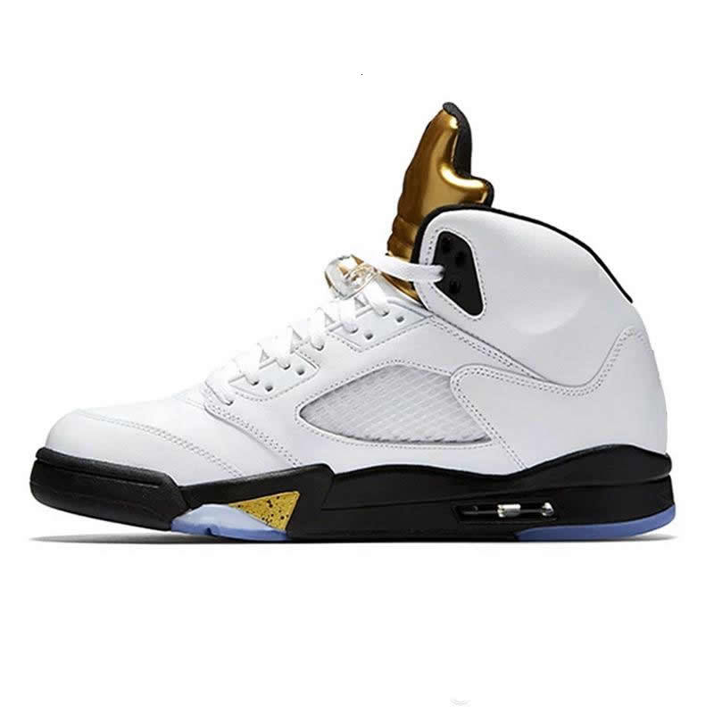 Hot Jumpman Mens Basketball shoes 5 5s V Olympic metallic Gold White Cement Man OG Black Metallic red Suede Sport Sneakers size 40-46
