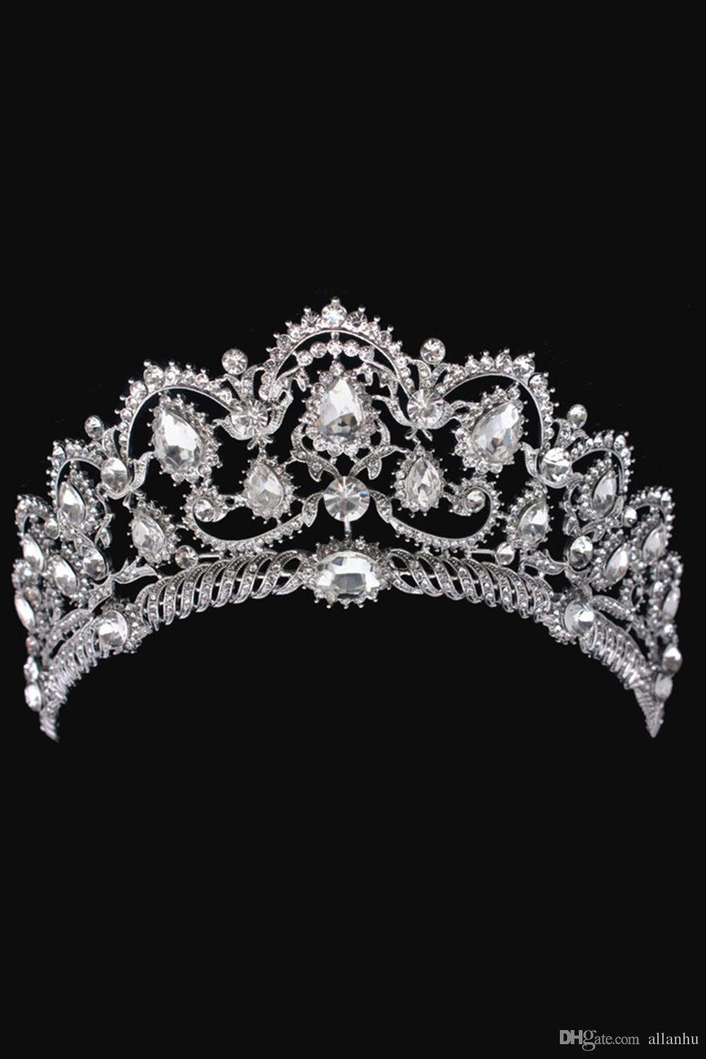 Sparkle Beaded Crystals Wedding Crowns 2017 For Bride Bridal Crystal Veil Tiara Crown Headband Hair Accessories Party Wedding Tiara CPA792