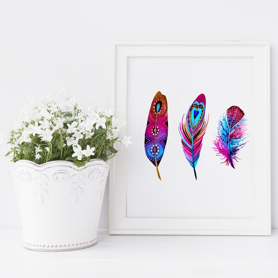 Watercolor-Colorful-Feather-Canvas-Art-Print-Poster-Hand-Drawn-Feathers-Native-Painting-Wall-Pictures-For-Home (3)