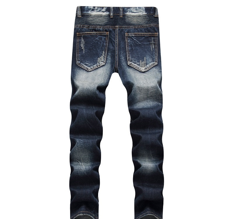 Newsosoo Casual Motocycle Men Jeans Slim Fit Bike Pleated Denim Pants Trousers For Male Straight Washed Multi Zipper jeans pants1