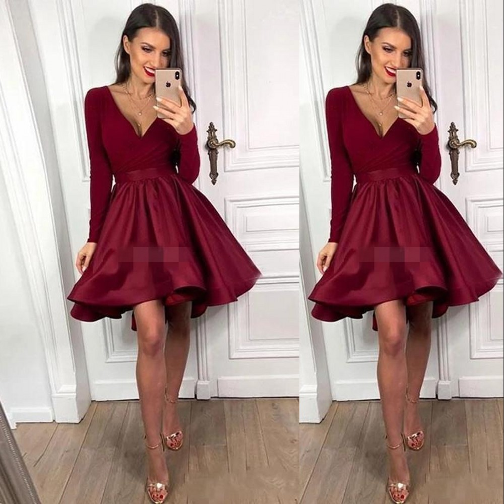new sexy dunkelrot burgundy kurze cocktailkleider mit tiefem v-ausschnitt  sleevevs satin faltet formal gelegenheit tragen