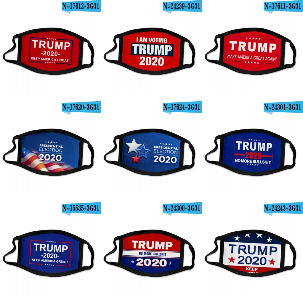 DHL Ship Donald Trump 2020 Face Mask Cloth Anti-dust Mask Funny Cotton USA Woman Men Unisex Fashion Winter Washable Party Mask 40 styles