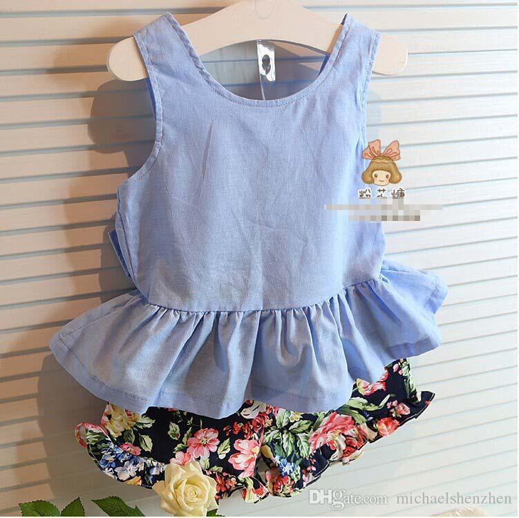 Girls Outfits Summer Korean Style Fashion sets girls Big Bow vest tops + Floral shorts suit kids princess shorts children sets C001