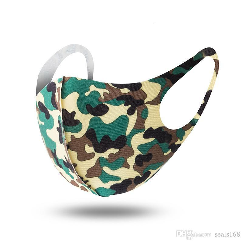 Camouflage Face Mask Camo Mouth Cover Anti-bacterial PM2.5 Respirator Dustproof Washable Reusable Silk Cotton Masks Black HH9-3018