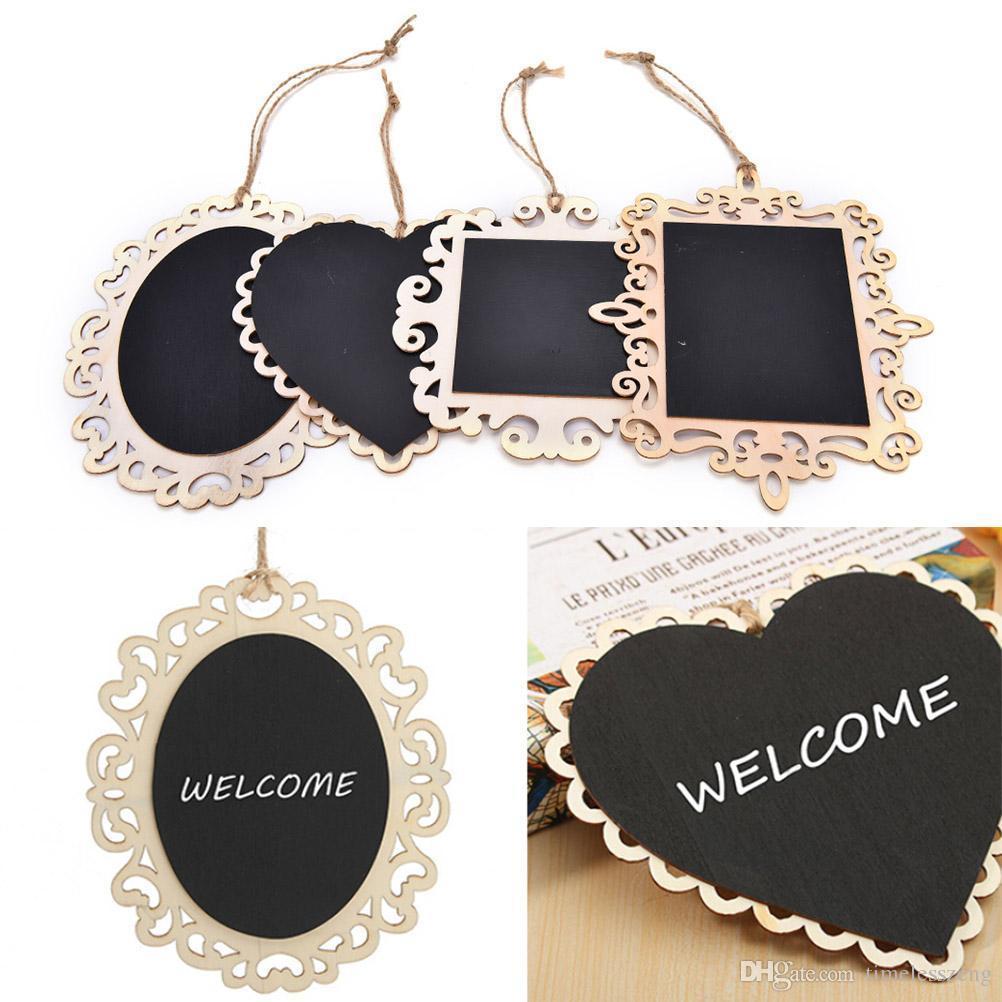 Creative Hanging Wooden Blackboard Chalkboard Wordpad Message Memo Chalk Board Home Wedding Party Decor Party Supplies
