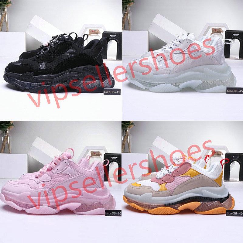 2020 17FW Triple-S shoes Sneakers Mens Womens Casual Shoes Triple Green Yellow Paris 17FW Fashion Casual Platform stylist Shoes EUR 36-45