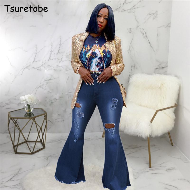Tallas Grandes Mujer Pantalones De Campana Jeans Black Friday Cyber Monday Oferta 2020 Dhgate Com
