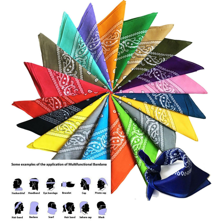 Unisex Magic Bandana Scarf Face Mask Print 100 % Cotton Face & Hair Scarf Wrap Headband Scarf Multifunctional Outdoor Sports FY7026