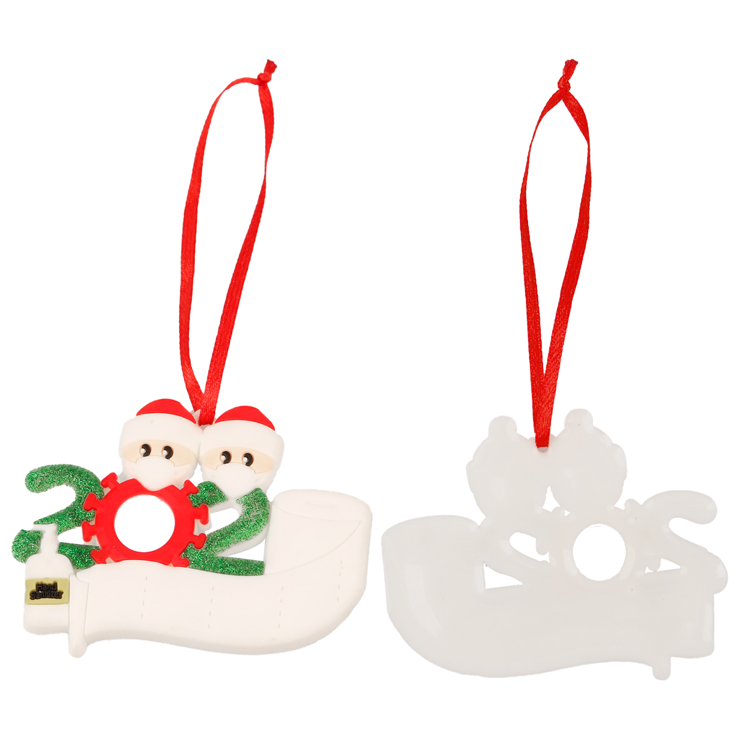 2020 Christmas Ornament Customized Gift Survivor Family of 2 3 4 5 6 7 Hang Decoration Snowman Pendant With Face Mask Hand Sanitizer Xmas
