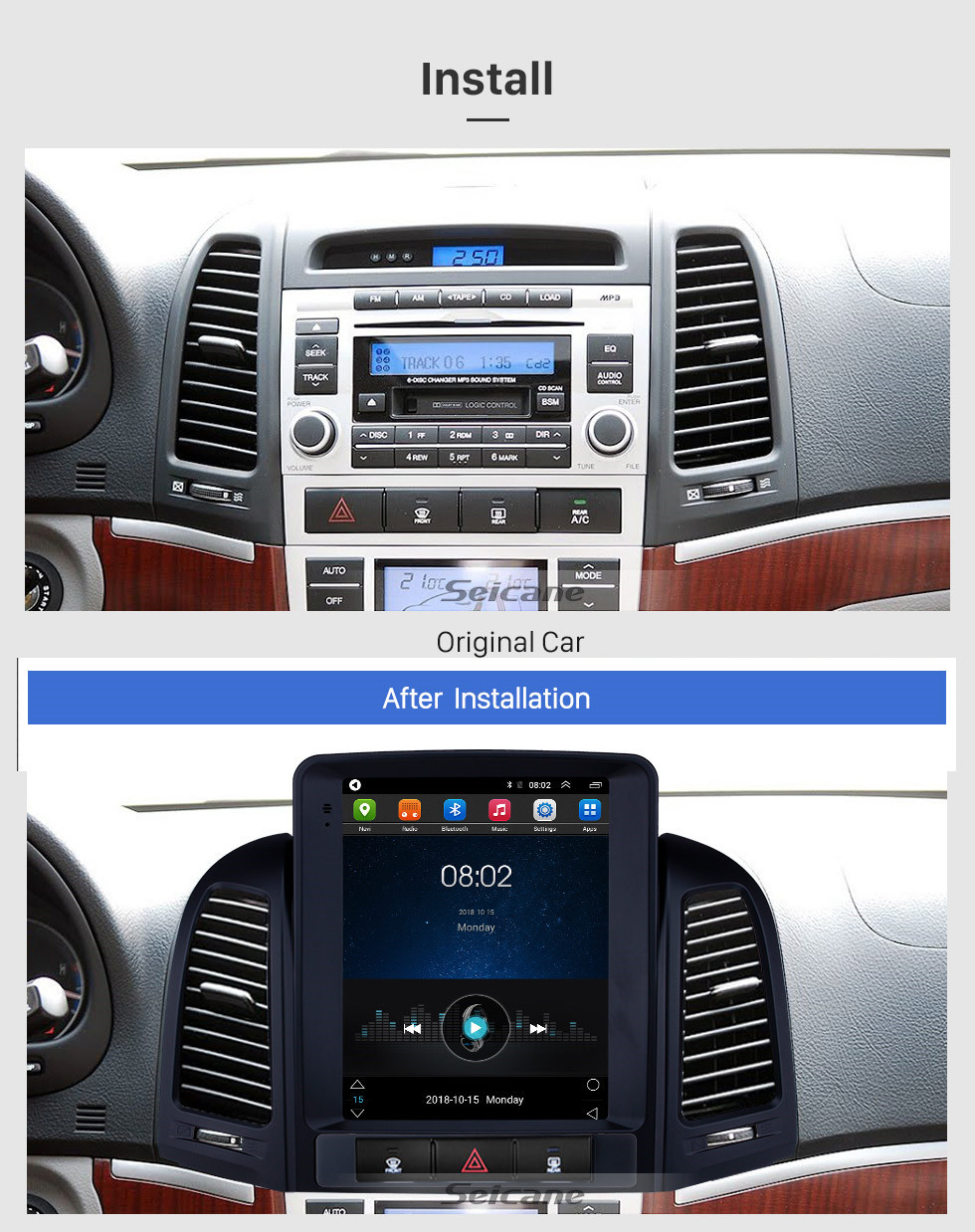Android 9.1 9.7 inch GPS Navigation Radio for 2005-2012 Hyundai Santa Fe with Bluetooth support Steering Wheel Control