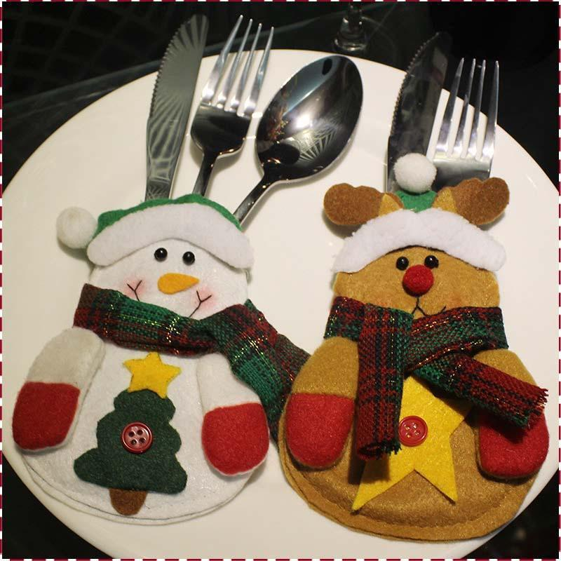 Handmade Cutlery Pocket Christmas Knife and Fork Bags Happy Cute Santa Claus Snowman Elk In Store